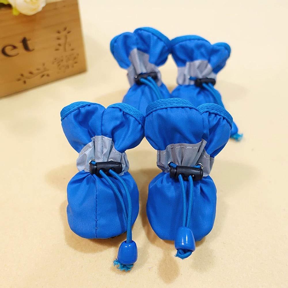 bluee Totots Waterproof Dog shoes Rain Snow Boots Waterproof Rubber Non-Slip shoes Puppies Puppies 4 Pieces Black 7  (6.5cmx5.3cm) (color   bluee)