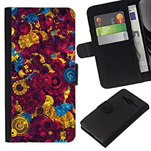 Planetar® Modelo colorido cuero carpeta tirón caso cubierta piel Holster Funda protección Para Samsung Galaxy Core Prime / SM-G360 ( Fondo de pantalla colorida Pintura Diseño Arte )