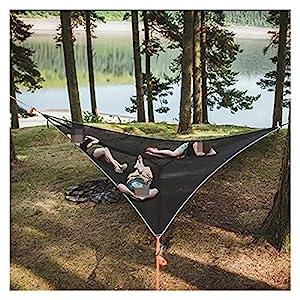 LHaoFY Multi-Persona Hamaca-patentada Diseño De 3 Puntos Hamacas Portátiles Triángulo Multifuncional Matón Aéreo Conveniente Camping Dormir (Color : Black 2mx2mx2m)