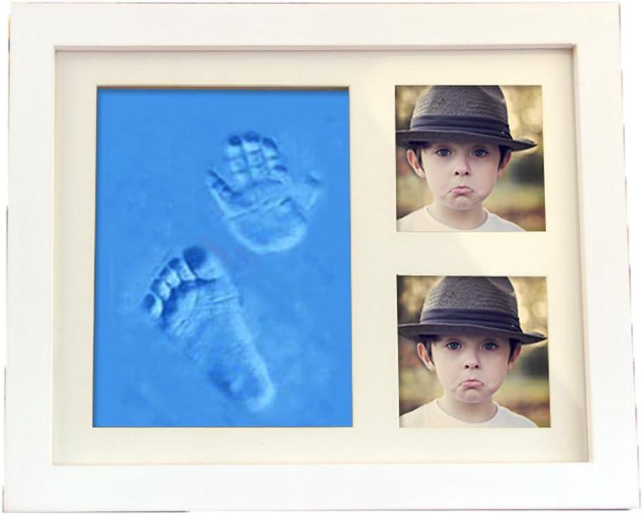 Babyset mit Bilderrahmen Fu/ßabdruck Handabdruck Baby Fotorahmen Hand und Fu/ß-Abdr/ücke Kit BLAU