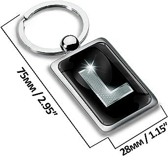 Biomar Labs Schlüsselanhänger Buchstabe Metall Keyring Buchstaben Initialen Alphabet Autoschlüssel Geschenk Metall Schlüsselanhänger Schlüsselbund Edelstahl Silber L Kk 90 Bekleidung