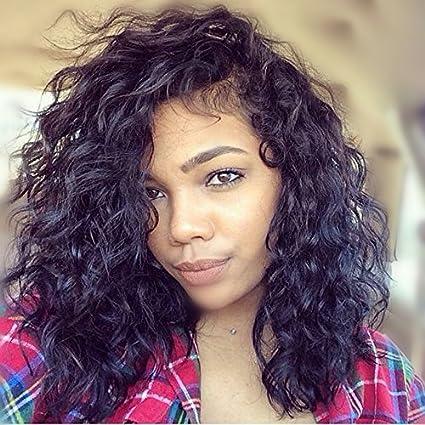 WINBOWIG Peluca llena del cordón del pelo humano rizado ondulado para las mujeres negras Pelucas delanteras