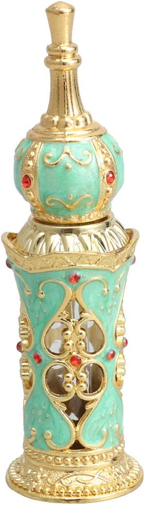 SUPVOX Botellas aceites Esenciales frascos para Perfume de ámbar decoración mesas de Fiesta Bodas (Oro y Verde)
