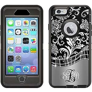 Skin Decal Monogram for Otterbox Defender iPhone 6 Case - Damasks Metallic Style on Black