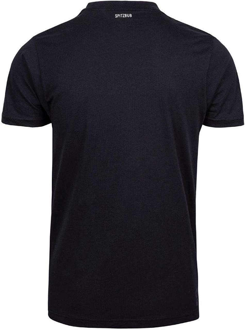 Spitzbub Herren schwarzes T-Shirt Kurzarm Shirt Orange Johann