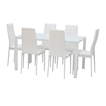 EBS® White Glass Dining Table And 6 Chairs Seats Dining Room Furniture Set  + Furniture