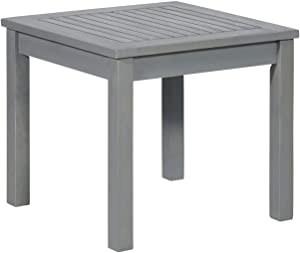 "Walker Edison Furniture Company 20"" Simple Outdoor Wood Patio Side Table - Grey Wash"
