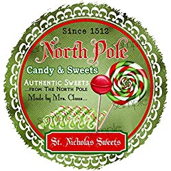 Christmas Lollipop Stickers Christmas Candy Labels North Pole Sweet Shoppe Candy Shop Gift Stickers St Nick Labels Seals