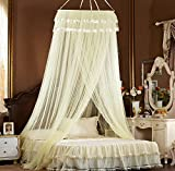 XDOBO Thick One Opening Round Lace Curtain Dome Princess Color Canopy Netting Mosquito Net for All Size (Beige)