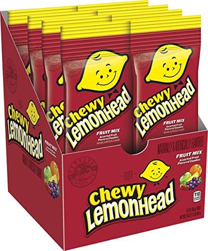 Lemon Sweet Fruit - Lemonhead Chewy Fruit Mix Candy, Lemon, Grape, Apple, Cherry and Orange, 3 Ounce (Pack of 8)