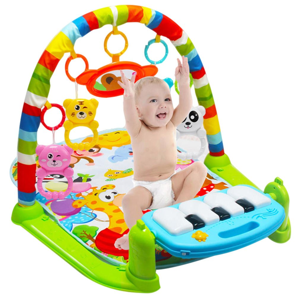 Henreal Kids Children Fitness Rack Baby Toys Piano Music Blanket Play Plastic Intellectual Development