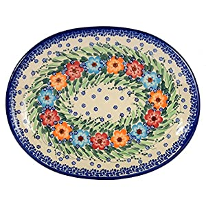 Traditional Polish Pottery, Handcrafted Oval Banquet Serving Platter 34cm, Boleslawiec Style Pattern, S.201.Garland