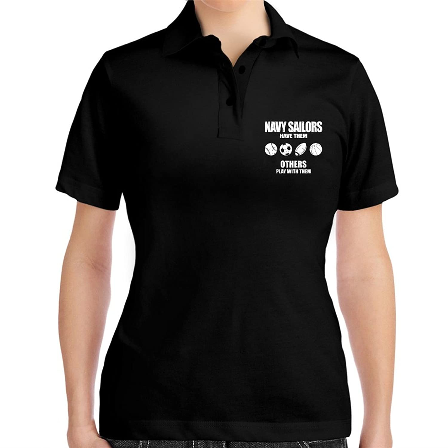 Navy Sailor have them others play with them Women Polo Shirt