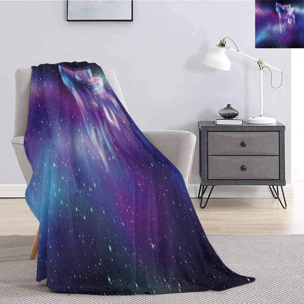 Luoiaax Fantasy Bedding Flannel Blanket Psychedelic Northern Starry Sky with Spirit of A Wolf Aurora Borealis Display Super Soft and Comfortable Luxury Bed Blanket W70 x L84 Inch Blue Purple
