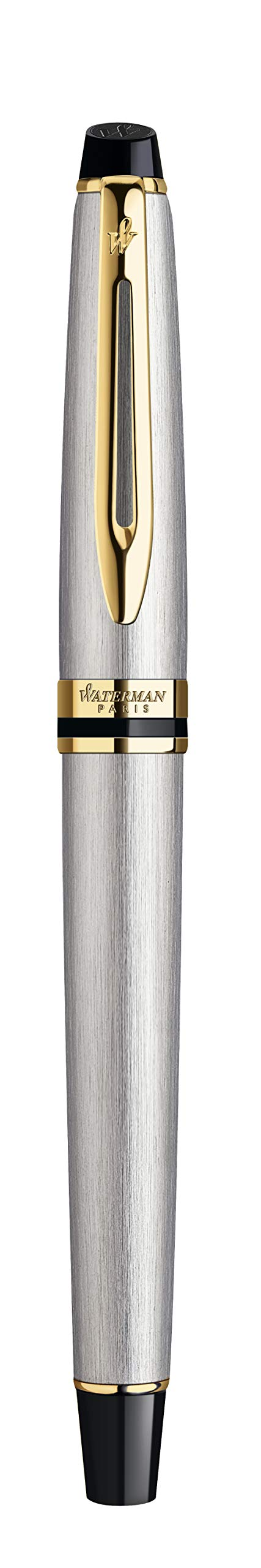Waterman Expert Fountain Pen Stainless Steel with Golden Trim, Fountain Pen with Fine nib and Blue ink (S0951940) by Waterman (Image #6)