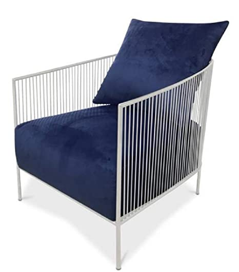 Casa-Padrino sillón Azul/Plata 69 x 78 x H. 88 cm - Sillón ...
