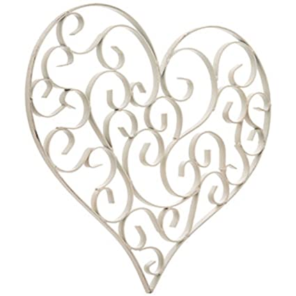 Amazon.com: Distressed White Swirly Heart Metal Wall Decor: Home ...