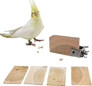 QBLEEV Bird Chewing Toy Natural Wood Cookies Toy with Stainless Steel Food Holder,Bird Cage Foraging Toys Set with a Vegetables Fruits Clamp,Parrot Biting Snacks for Parakeet Cockatiel Conure
