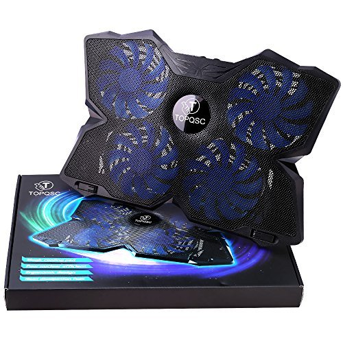 TOPQSC Cooling Fans, New Laptop Cooling Pad for Gaming, Ultra-Portable Laptop Cooler for 15.6 Inch -17 inch Notebooks with 4 Fans 120mm - Black & Blue by TOPQSC (Image #1)
