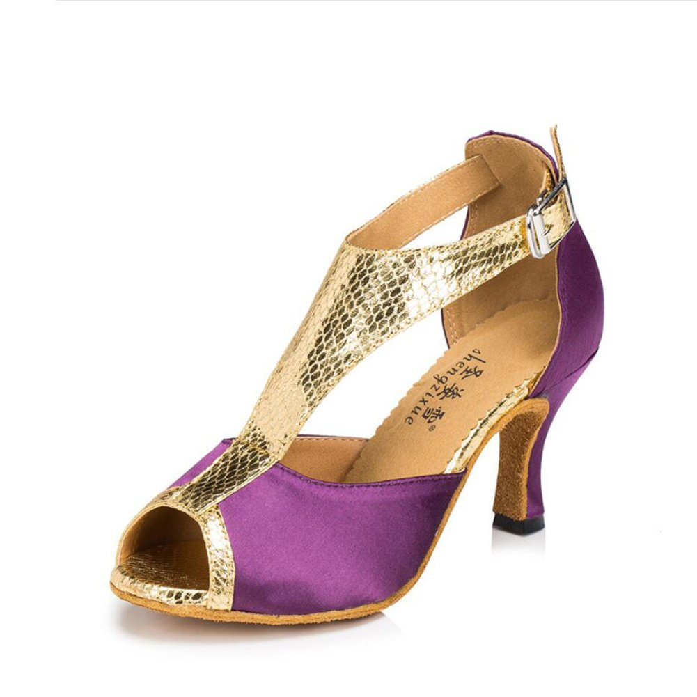 Color : A, Size : 34 XUEXUE Womens Latin Shoes//Ballroom Shoes Satin//Silk Sandal Indoor//Professional Buckle Heel Dance Shoes Party /& Evening Purple Colour Red