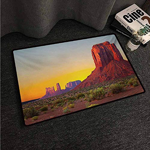 HCCJLCKS Non-Slip Door mat Canyon Sunset in Famous Grand Canyon Antiquated Natural Wonders of World Heritage Photo with Anti-Slip Support W20 xL31 Red -