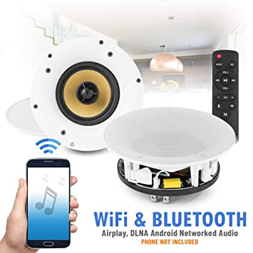Powered Wi Fi Bluetooth Ceiling Speakers Multi Room Network Airplay Dlna Android