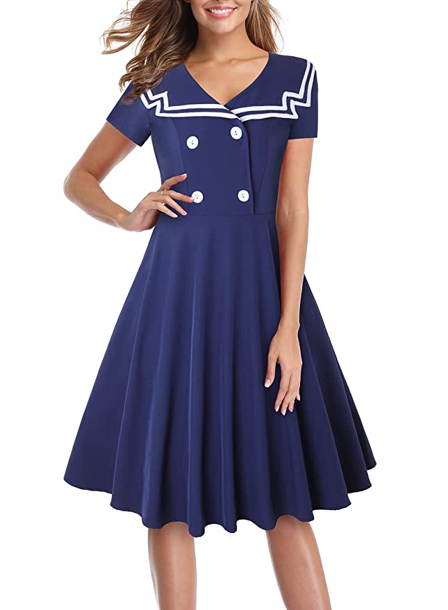 Sailor Dresses, Nautical Theme Dress, WW2 Dresses MISSJOY Halloween Sailor Dress for Women Fit and Flare Uniform Skirt Nautical A Line Dress $24.99 AT vintagedancer.com
