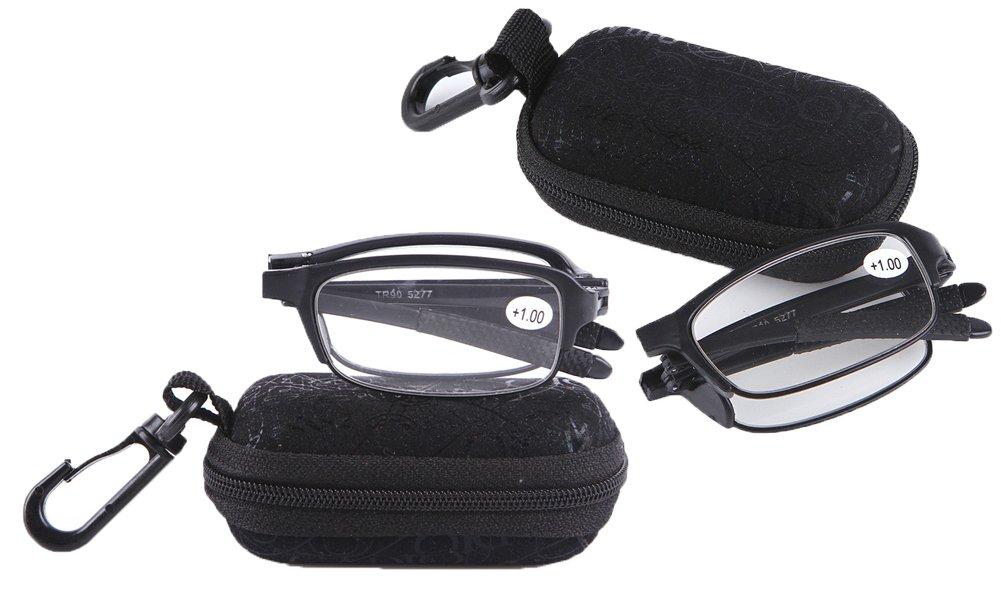 SOOLALA Compact Mini TR90 Pocket Folding Reading Glasses with Clip Holder Zipper Case, 2Black, 1.25