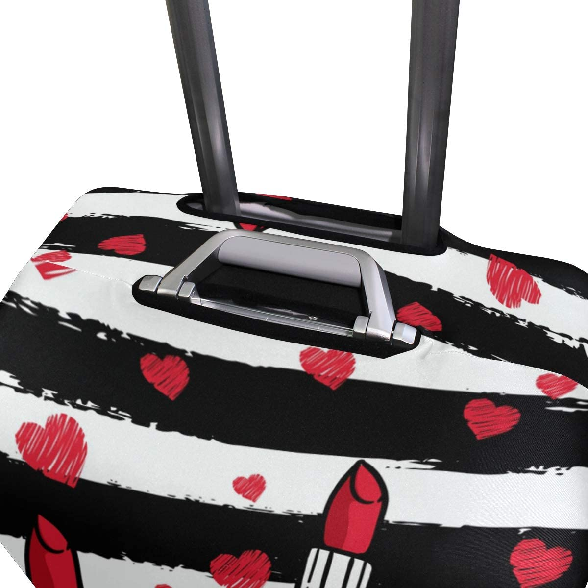 Travel Luggage Cover Lady Red Lipsticks Black White Stripes Suitcase Protector