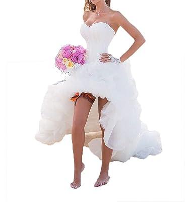 Yasiou Hochzeitskleid Elegant Damen Lang Weiß A Linie Hinten Lang