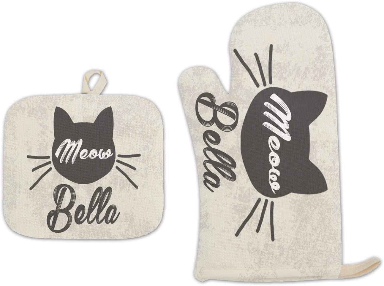 Bleu Reign BRGiftShop Personalized Custom Name Distressed Vintage Cat Kitten Meow with Whiskers Linen Oven Mitt and Potholder Set