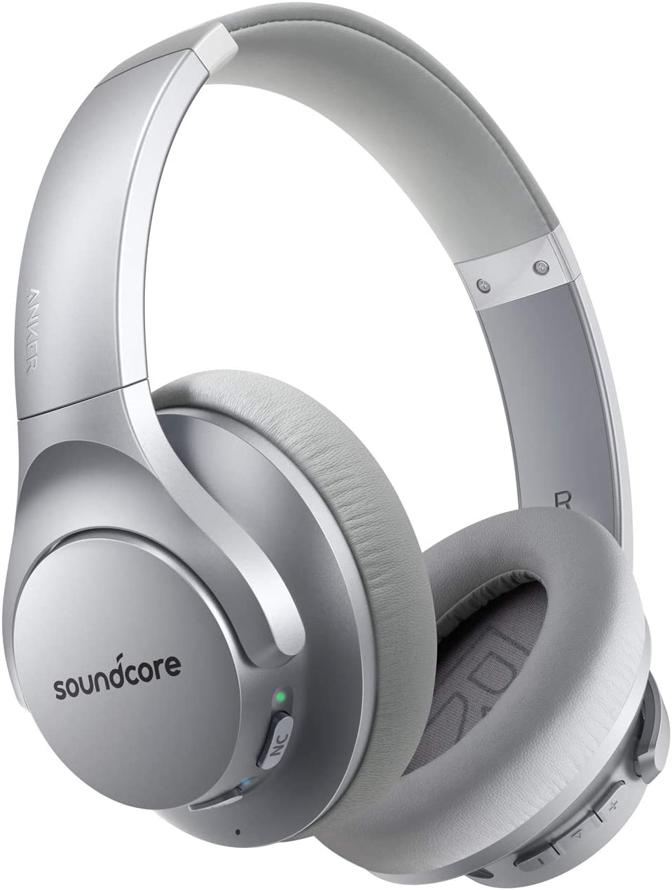 Anker Soundcore Life Q20 Hybrid Active Noise Cancelling Headphones, Wireless Over Ear Bluetooth Headphones with 40H Playtime, Hi-Res Audio, Deep Bass, Memory Foam Ear Cups and Headband (Silver)