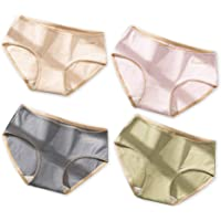 Women's Cotton Underwear Briefs 4-Pack Mid-rised Soft Breathable Bacteriostat Briefs Panties