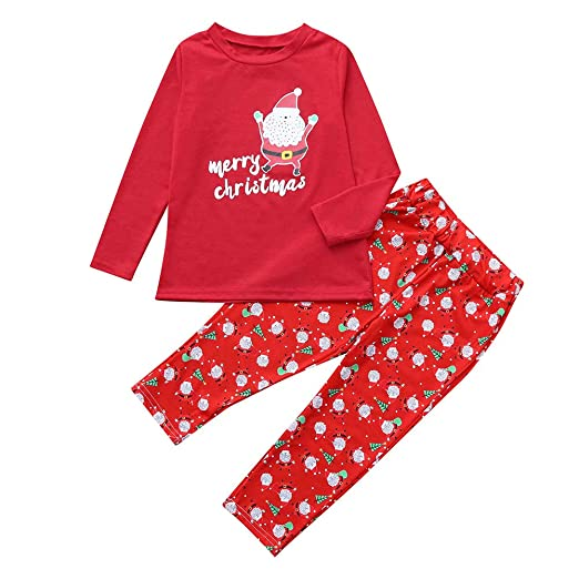 Christmas Santa Pajamas Family Matching Sleepwear Cotton Kids PJs Pants Set  (Red -Girls 7829f6691