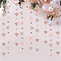 52Ft Rose Gold Diamond Heart Hanging Party Decoration Double Sided Glitter Metallic Paper Garland Banner for…