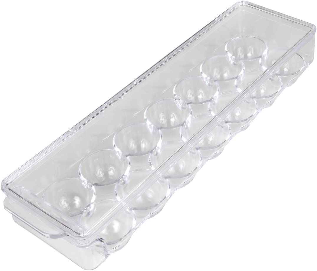 Home-X - Clear Acrylic Egg Storage Container with Lid, Durable Design Protects Eggs In and Out of the Refrigerator, Holds up to 14 Eggs
