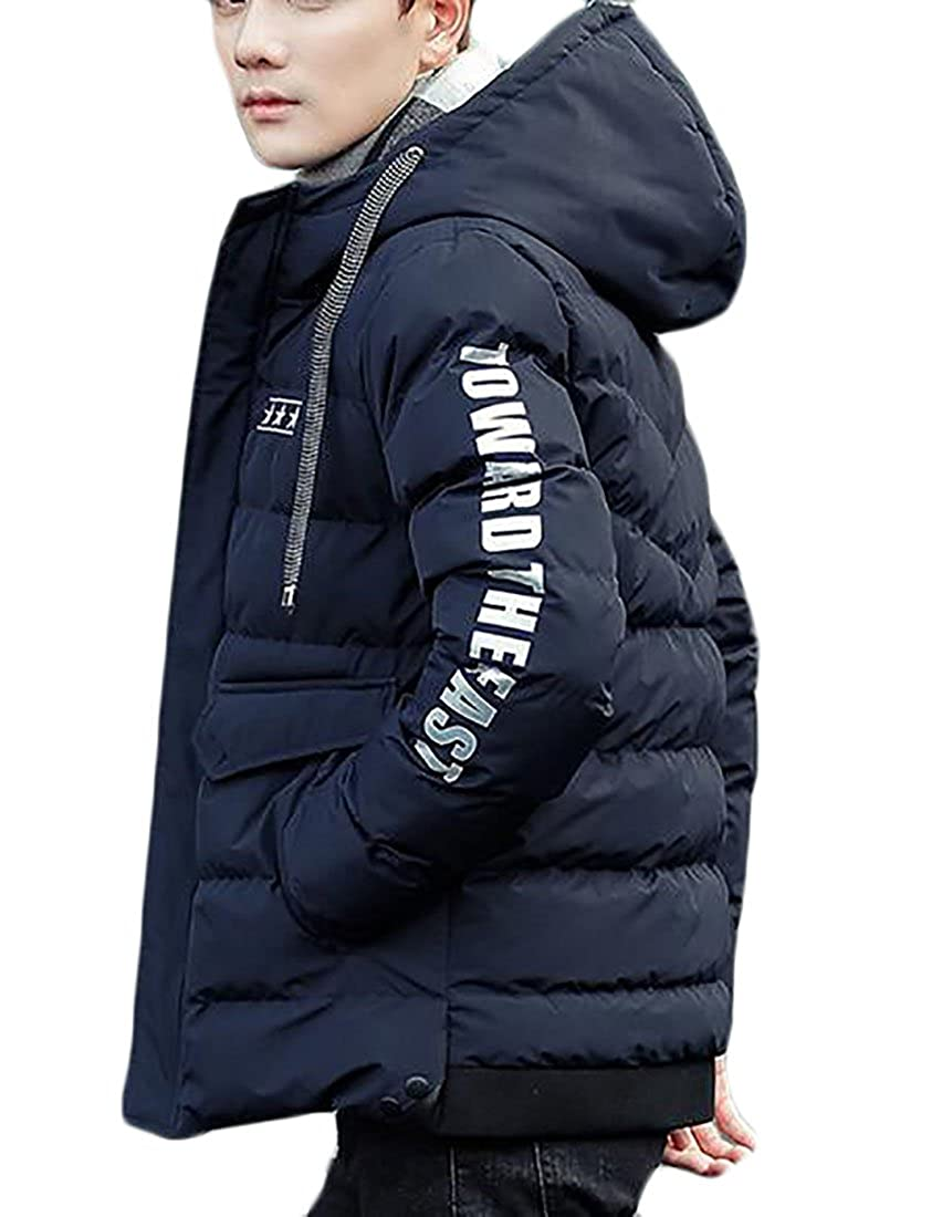 FLCH+YIGE Men's Winter Warm Ultra Lightweight Down Hoodie Parka Jacket