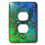 3dRose Uta Naumann Faux Glitter Pattern - Luxury Chic and Trendy Shiny Pink Foliage on Green Flower Pattern - Light Switch Covers - 2 plug outlet cover (lsp_269036_6)