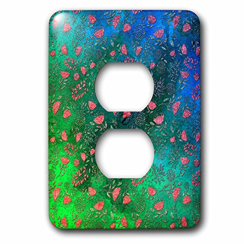 3dRose Uta Naumann Faux Glitter Pattern - Luxury Chic and Trendy Shiny Pink Foliage on Green Flower Pattern - Light Switch Covers - 2 plug outlet cover (lsp_269036_6) by 3dRose