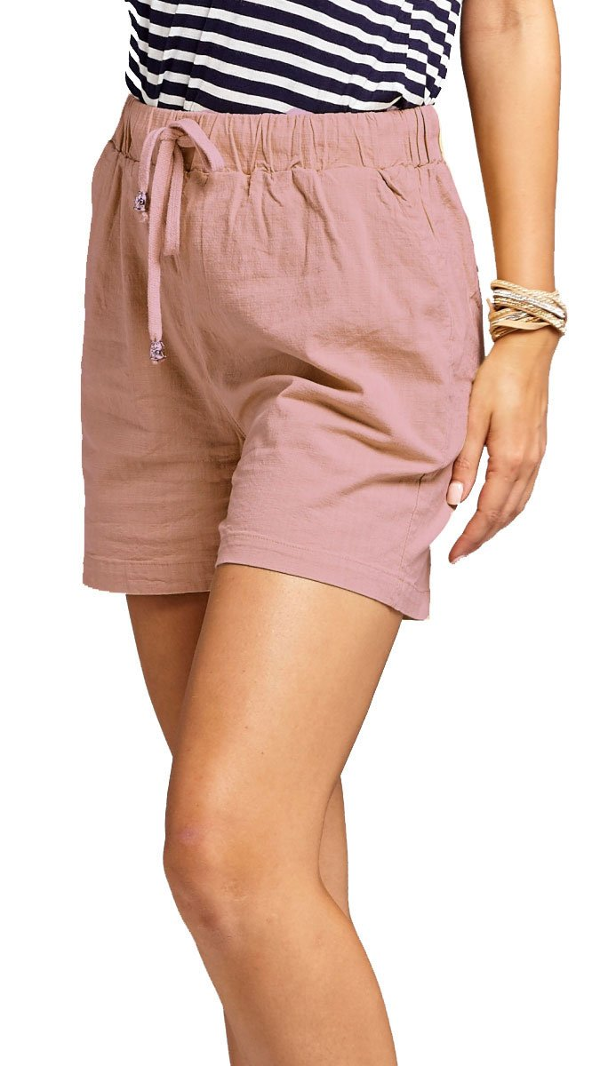 Conceited Premium Women's Linen Shorts - 5 Summer Colors by (Small, Mauve)