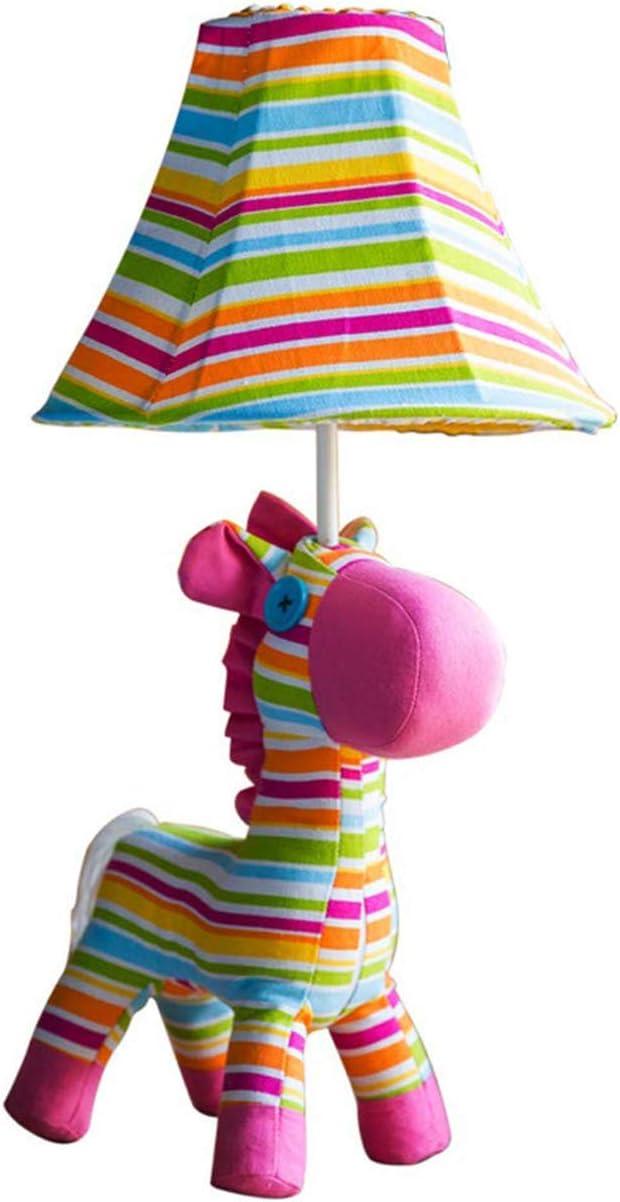 UWY Lámpara de Mesa clásica Tela de Dibujos Animados Lámpara de Mesa de Caballo arcoíris Decorativa Simple Dormitorio de los niños Protección para los Ojos Lámpara de Escritorio del Hotel 1 llam