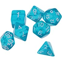 Baoblaze 7Pieces Bar Pub Party 16mm Side Length Playing Games Dice Set for DND MTG RPG Lake Blue