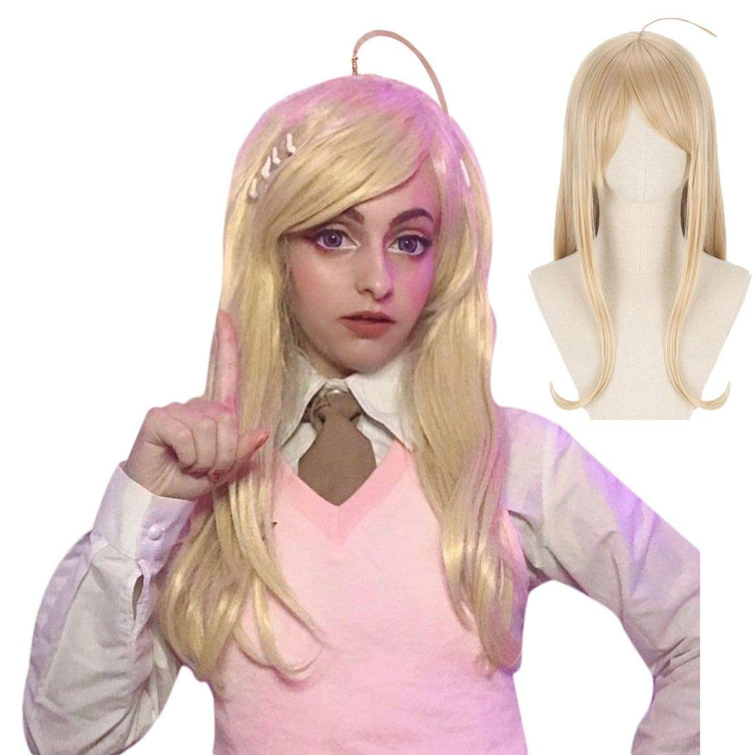 JoneTing Black wig with Bangs Cosplay Costume Synthetic Medium-length Natural Wavy Wigs for Women
