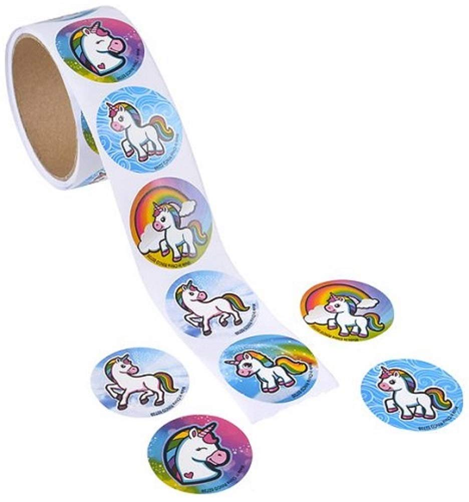 Novelty Treasures 100 Unicorn Emoji Stickers on a Roll