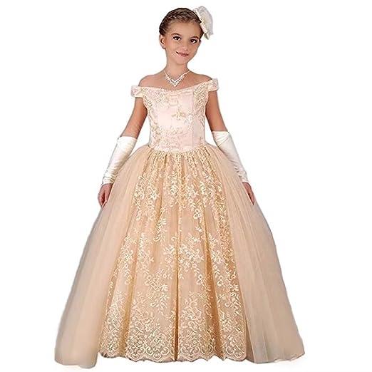 37e14b203c6 Kalos Dress Shop Champagne Flower Girl Dress Girls Princess Dress for  Wedding(Champagne 2)