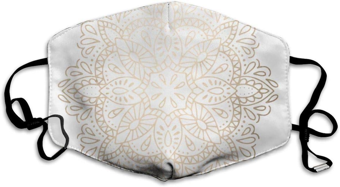 Mascarilla de Boca Mandala con Brillo de Oro Blanco, máscara Sanitaria para Mantener el Calor en frío, protección contra el Polvo y el Humo para Hombres, Mujeres y Adolescentes