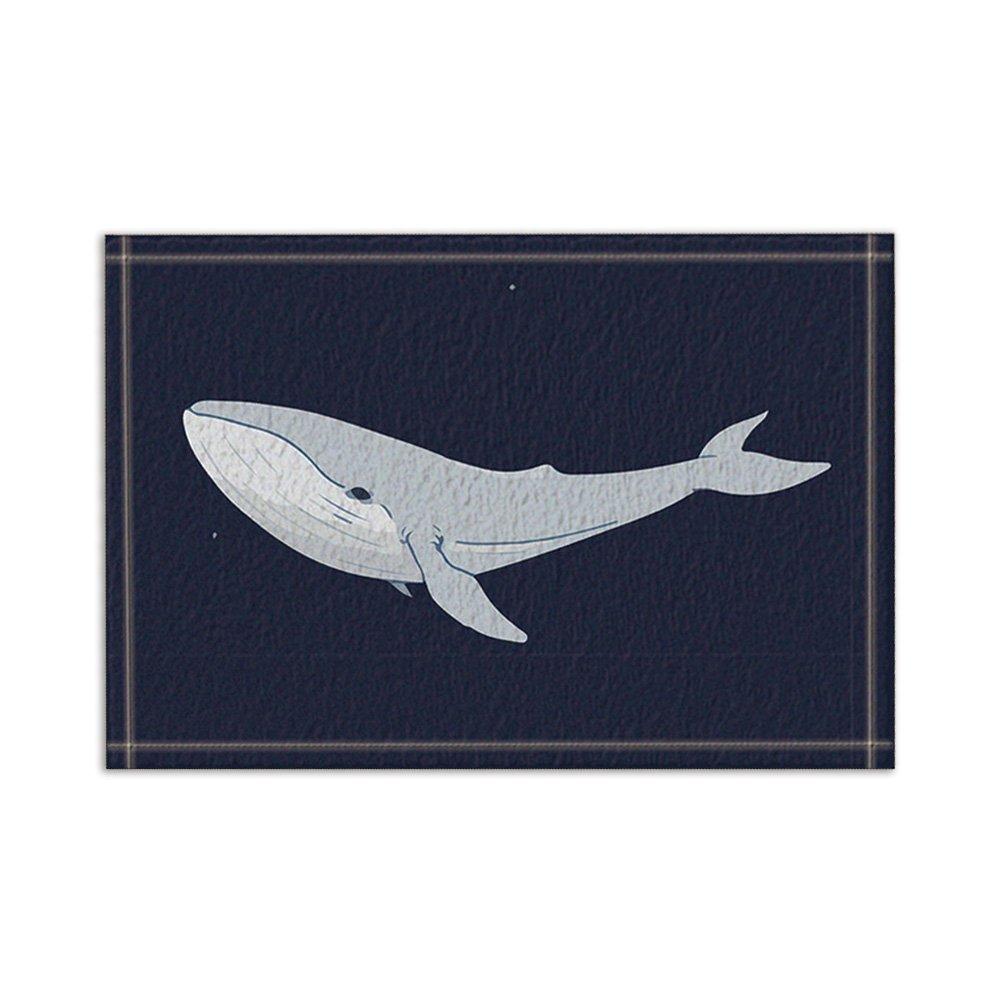 NYMB Ocean Animals Decor, Big Whale in Black Bath Rugs, Non-Slip Floor Entryways Outdoor Indoor Front Door Mat,15.7x23.6in Bath Mat Bathroom Rugs