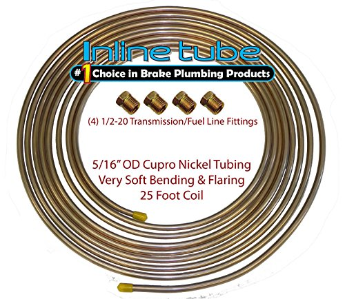 - Copper Nickel Fuel Line Tubing 5/16 25 Ft Coil Roll & 1/2-20 Fittings USA CN5 (L-5-3 + D-3-11)