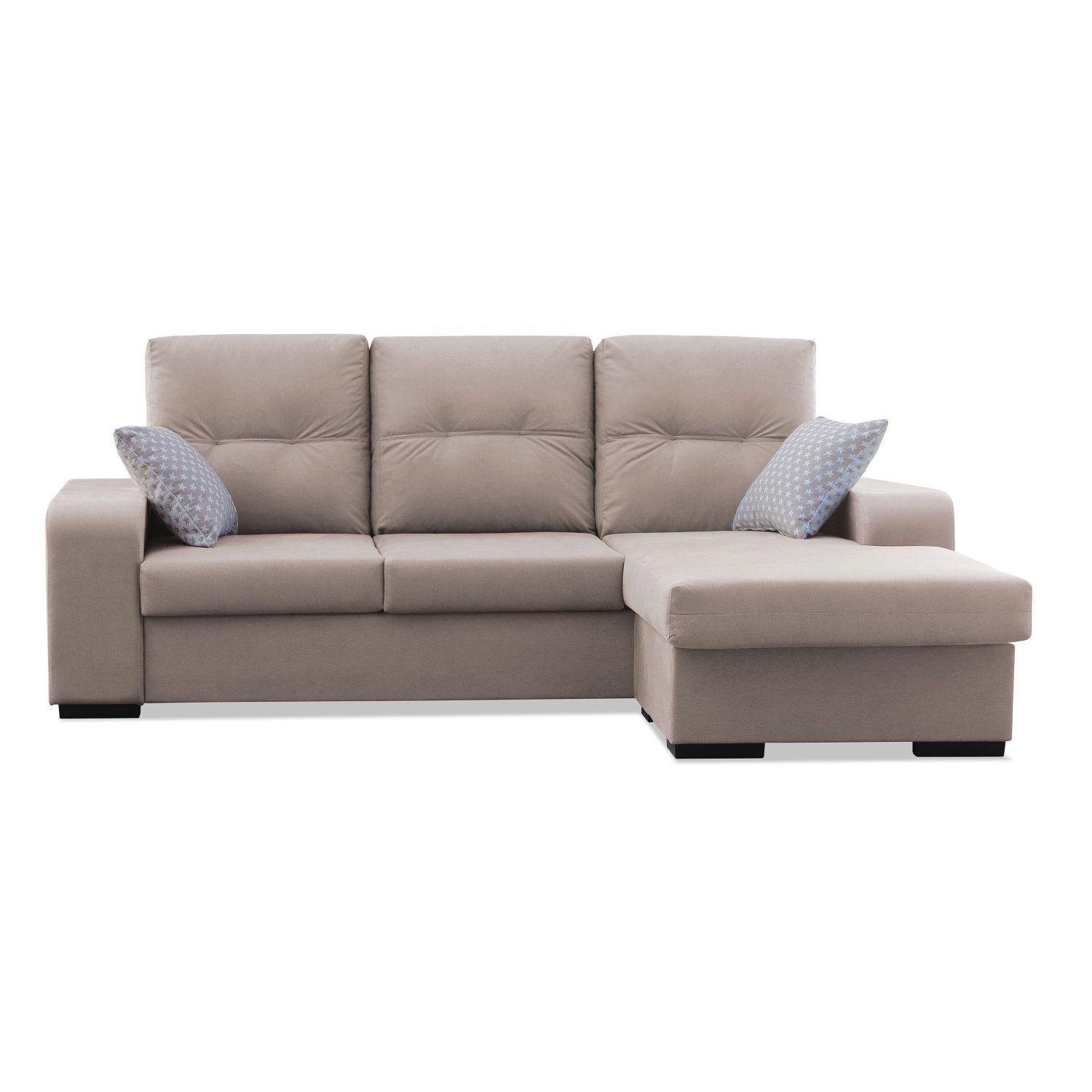 Muebles Baratos Sofa con Chaise Longue 3 plazas color beige ...