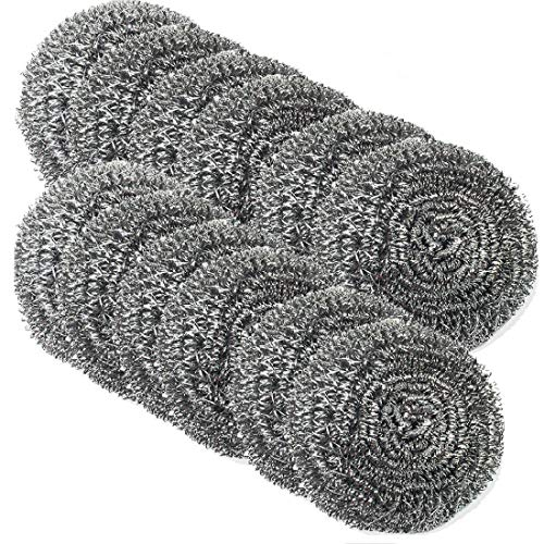 DIY House Stainless Steel Scourers Sponges Scrubbers,12 Pack Extra Large Metal Scouring Pads Tackling for Tough Cleaning Jobs.